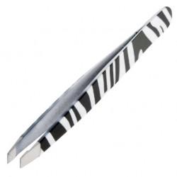 Profesjonalna pęseta kosmetyczna skośna Zebra