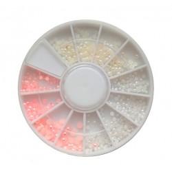 Perełki różowe i  białe ecru mix w karuzeli nr 68