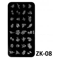 "Blaszka ""S"" ze wzorkami do stempli  ZK-8"