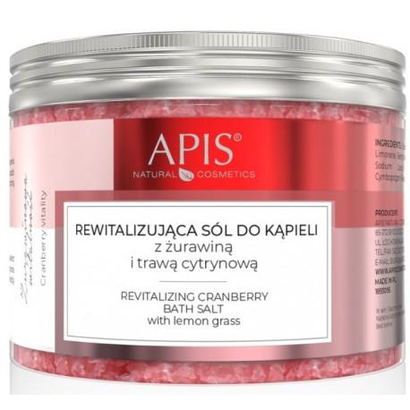 APIS Rewitalizująca sól do kąpieli z żurawiną 650g