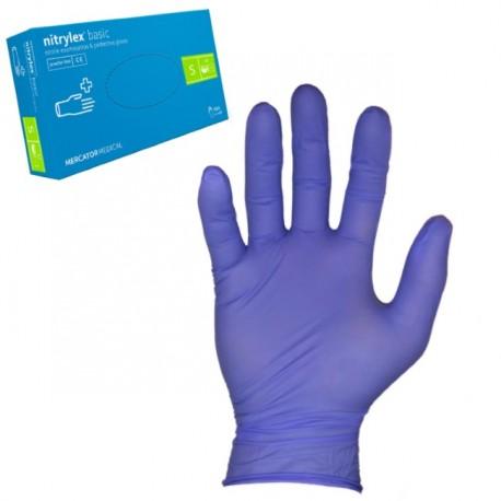 Rękawice Nitrylowe, bezpudrowe S Niebieskie