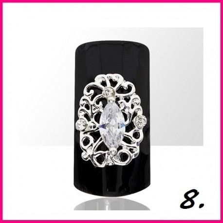 Biżuteria na paznokcie 3D z cyrkoniami 08