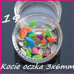 Ćwieki neonowe kocie oczka mix kolorów 3x6mm - 19