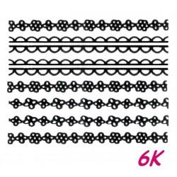 Naklejki wodne koronki czarne 6K