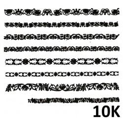 Naklejki wodne koronki czarne 10K