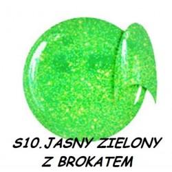 Żel kolorowy NTN S10 jasny zielony z brokatem