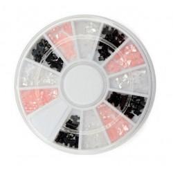 Perełki kokardki różowe,białe, czarne  mix w karuzeli nr 52
