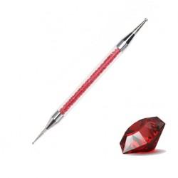 Sonda dwustronna z kryształkami w rączce czerwona