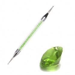 Sonda dwustronna z kryształkami w rączce zielona